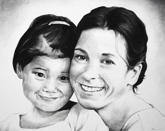 Family Portrait - Custom Portrait in Charcoal from your favorite photograph
