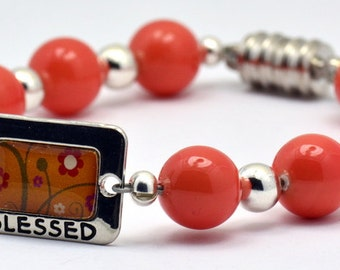 Sale / On Sale / Clearance Jewelry / Jewelry on Sale / Marked Down / Orange You Blessed Glass Beaded Silver Plated Bracelet - BR00097