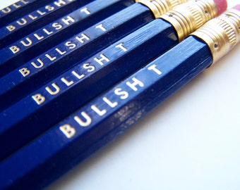 6 PENCILS - blue bullsh.t GRAPHITE hex funny back to school pencil set with gold text and a hand-stamped pencil box