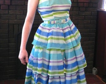 Fabulous Vintage 50s Party Dress - 1950s H Bar C Striped Cha cha Rockabilly Dress Sm - on sale