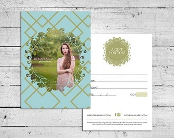 Penelope double sided gift certificate design - Instant download