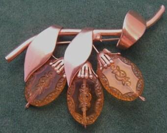 Vintage Glass Flowers Rose Gold Brooch Intaglio Pin Vintage