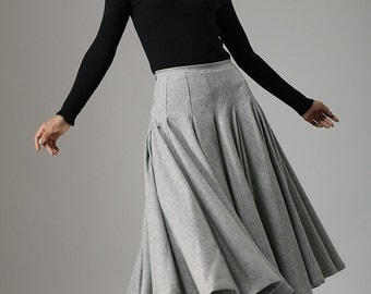 light gray skirt, wool skirt, midi skirt, winter skirt, swing skirt, pleated skirt, high waisted skirt, unique skirt, made to order   (748)