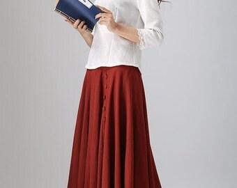 Red linen dress - Etsy