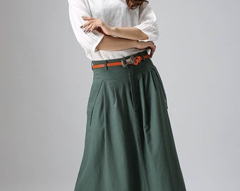 linen skirt, maxi skirt, green skirt, casual skirt, womens long skirts, pleated skirt, custom skirt, skirt with pockets, summer skirt  813