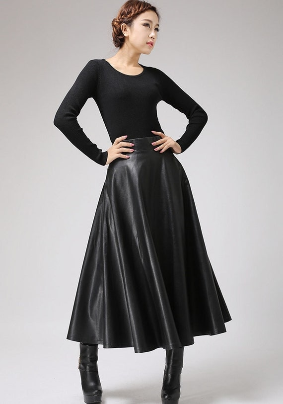 Black faux leather skirt Classic style maxi skirt women PU
