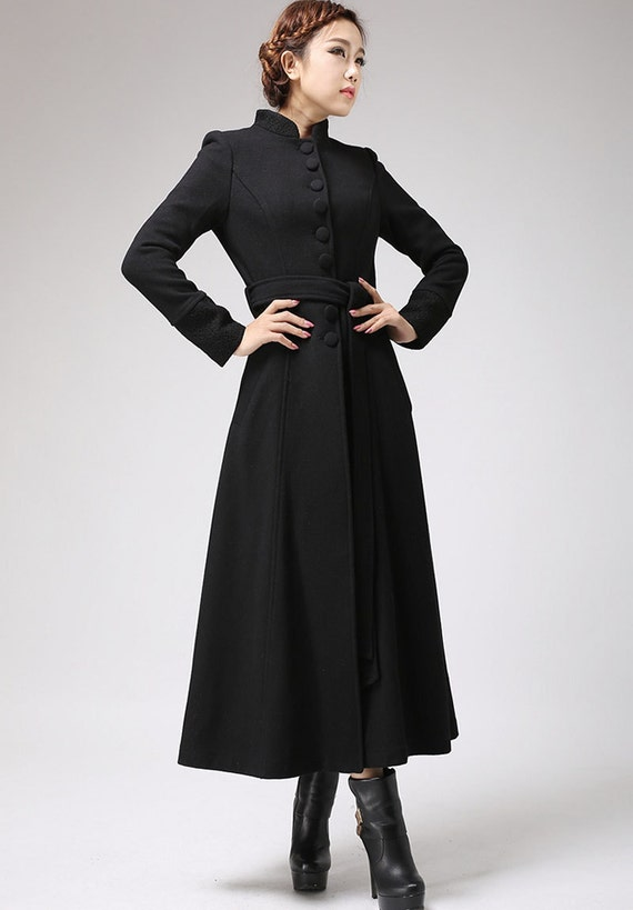 Black coat dress coat mandarin collar long coat womens