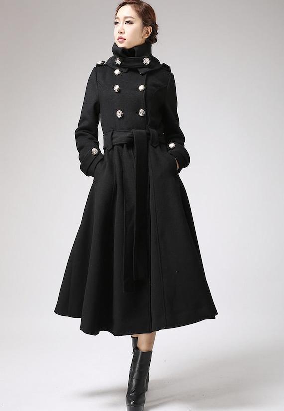 Trench coat military coat long coat black coat custom