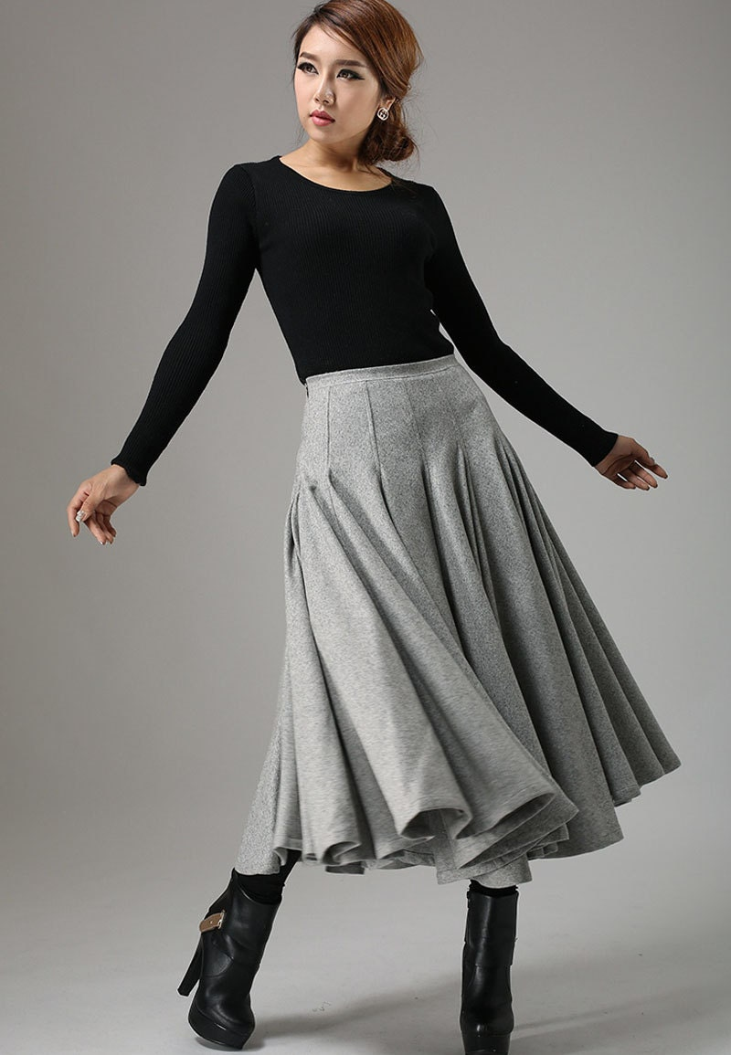 light gray skirt wool skirt midi skirt winter skirt swing