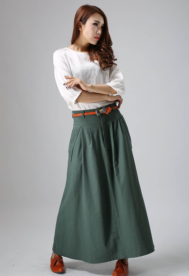 Linen skirt maxi skirt green skirt casual skirt womens