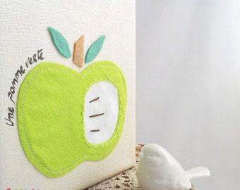 Green Apple Wall Art, Canvas 5 x 7 inch