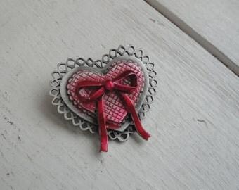 Vintage Heart Pewter  Pin Brooch