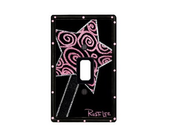 Glitter Fairy Pink and Black WAND Light Switch Cover