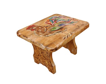 Rooster Hand Painted Stool 7.5H X 8.75W X 10.5L