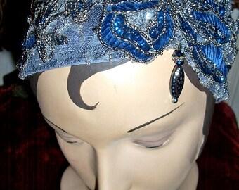 Luminous Beaded, Jeweled Grey Cobalt Headpiece, Headband Millinery Bling Party Event