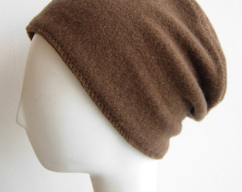 Pure Cashmere Rollup hat, Slouch beanie, cuff hat, caramel.  FREE SHIPPING in the US