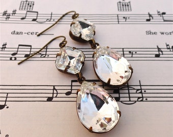 Double Drop Crystal Earrings Classic Old Hollywood Bridal Rhinestones Retro Vintage Czech Glass
