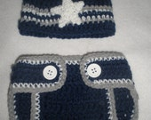 Dallas Cowboys hand Crochet Diaper Cover and Beanie Hat Set Photo Prop Costume