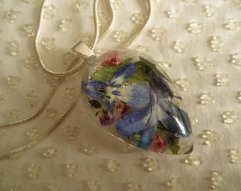 Blue And White Lobelia, Pink Heather, Purple Alyssum Pressed Flower Glass Teardrop-Pendant-Nature's Art-Gifts Under 30