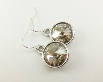 Smoky Drop Earrings Sterling Silver Drop Earrings Clear Smoky Crystal Earrings