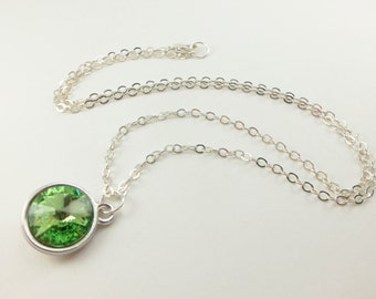 Peridot Sterling Silver Necklace Crystal Peridot August Birthstone Necklace