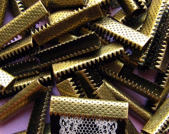 144pcs. 25mm or 1 inch Antique Bronze Ribbon Clamps without Loop for Bookmarks
