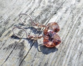 Crystal heart and rose gold dangle earrings, rose gold jewelry, heart shaped jewelry, valentines day