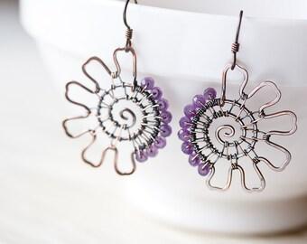 Purple Amethyst Earrings, asymmetric copper earrings, faceted amethyst gemstone beads, unique artisan jewelry, handcrafted earrings