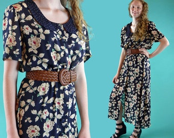 Vintage 80s Dress Sheer Floral Maxi Dress Peter Pan Collar Short Sleeve Romantic Bohemian Summer Maxi Dress S / M