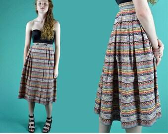 Vintage 50s Skirt RETRO Print Cotton Skirt High Waist Skirt ROCKABILLY Pleated Skirt Wrap Skirt S / M
