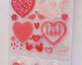Martha Stewart Valentines Day Hearts Stamp and Ink Set contains 3 ink in pink shades 16 clear stamps Doily Love Birds I Love You XOXO Flower