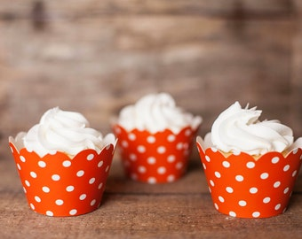 12 Cupcake Wrappers - Orange Cupcake Decorations - Paper Cupcake Wrappers - Cupcake Supplies - Cupcake Party - Cupcake Wrap