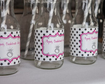 Bridal Shower Water Bottle Labels - Ring Theme Bachelorette Party Decorations - Engagement Party Labels in Hot Pink & Black Dots (12)