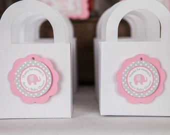 Pink Elephant Baby Shower Favor Tags - Elephant Baby Shower Decorations - Baby Girl Thank You Tags in Pink and Grey (12)