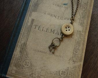 Tiny Skeleton Key and Bone Button Necklace - The Keymaster