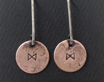 Dagaz Rune Earrings in Sterling and Copper