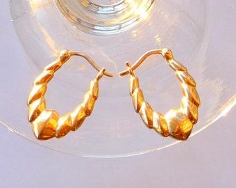Gold Pierced Earrings - Wedding - Mini Doorknocker Style - Classic Timeless - Ridges Sparkle Pattern - Recycled - UNIQUE