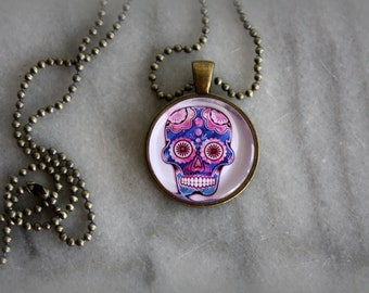 Sugar Skull Necklace, Pendant, Jewelry, Womens, Halloween, Day of the Dead, Gift for Her, by ktnunna