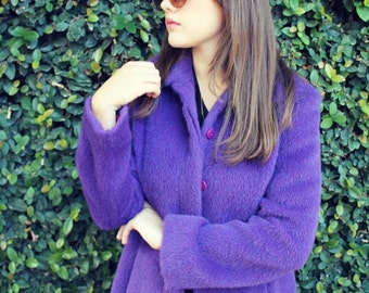 Stunning VERSACE V2 90s Purple Alpaca Coat / Statement Drama Luxury