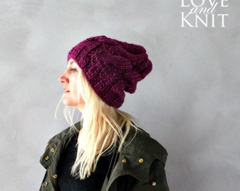 Chunky Knit Hat / Chunky Beanie / Cable Knit Beanie / Winter Accessories / Womens Chunky Beanie / Gift For Her/ Womens Gift/ Girlfriend Gift