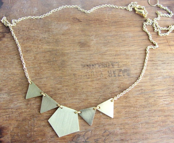 Garland gold choker necklace, triangles and pentagon brass geometric necklace.