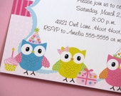 Colorful Owl Birthday Invitations Owl Party Rainbow Owl