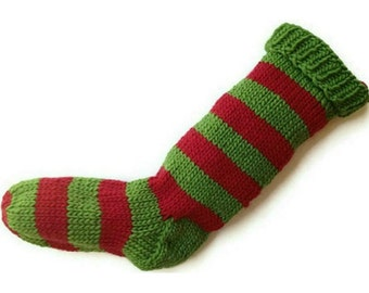 Hand Knit Christmas Stocking Hand Knit Green and Red Striped Santa Sock