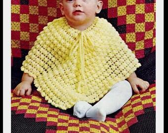 Baby Poncho Pattern - Crochet - PDF 930