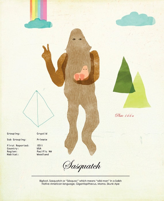 Sasquatch Rare Sightings Species Print