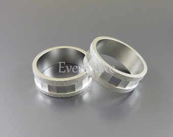2 Matte silver, rhodium plated band rings, silver ring bands, contemporary jewelry, jewelry making supplies 1925-MR (matte silver, 2 pieces)