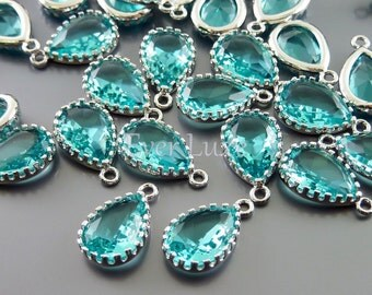 2 sea green 12mm glass charms with silver frame, glass beads for diy jewelry 5049R-SG-12 (bright silver, sea green, 12mm, 2 pieces)