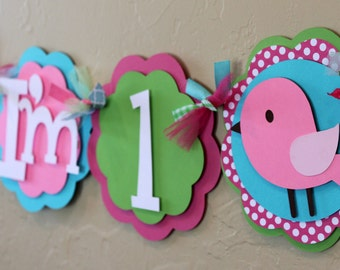 Birdie I'm 1 Highchair Banner Pink Hot Lime Green Turquoise Polka Dot Bird Baby Shower Girl Shabby Chic Party Decorations Bird