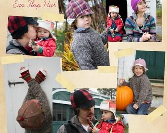 "Ear Flap Hat PDF Sewing Pattern - Warm Winter Style ""The County"" Cap - 3 Sizes Kids, Women's & Men's - Simple to Sew DIY"