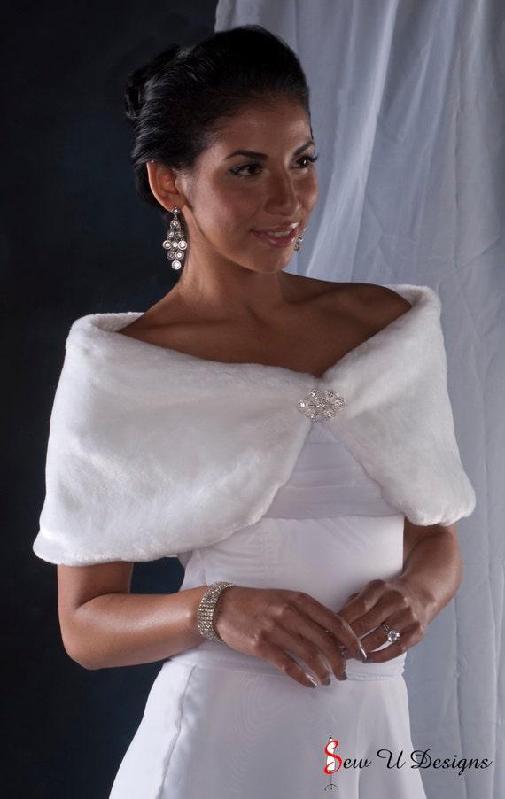 Bride's Faux Fur Custom Wrap shawl Winter Wedding Formal shrug 10 inch width Available in white or black